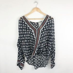 Free People One Before Dawn Printed Wrap Blouse